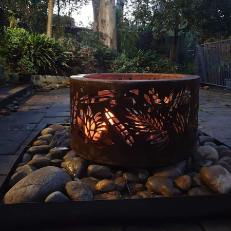 Small Double Skin Fire Pit with Floral Pattern