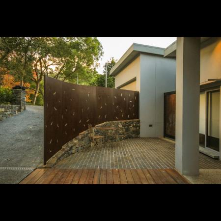 Corten Steel Fence with Eucalyptus Leaves Pattern