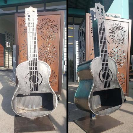 Custom Guitar Fire Pit in Steel