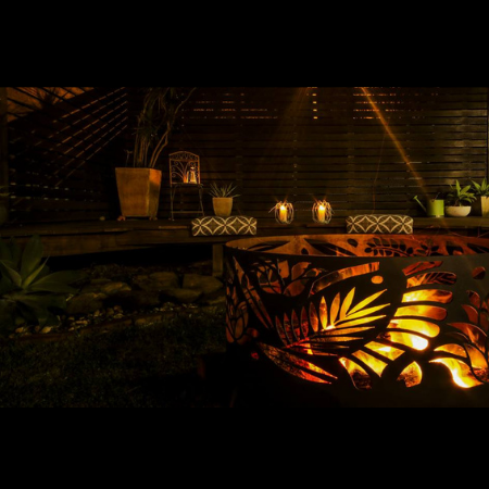 Squat Round Fire Pit with Floral Pattern