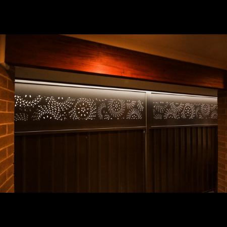 Decorative Fence Screens in Black Powder Coated Aluminium- Fanfare Pattern