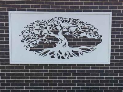 Fig Tree Wall Art in White Powder Coated Aluminium- Framed