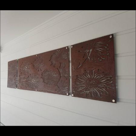 Firewheel Triptych Wall Art in Rusted Steel
