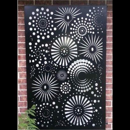 Fireworks Wall Art in Black Powder Coated Aluminium & Perspex Backing