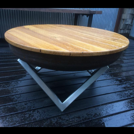 Geo Fire Pit with Stainless Steel Base & Hardwood Timber Lid