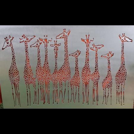 Giraffe Tower Wall Art in Silver Powder Coated Aluminium