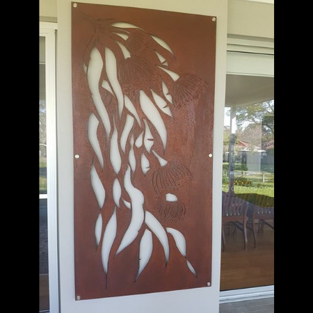 Gumleaf Cascade Wall Art in Rusted Steel with Brushed Silver Standoffs