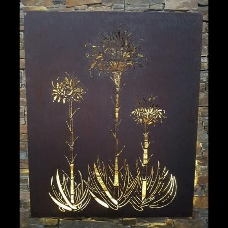Gymea Lilies Wall Art in Rusted Steel