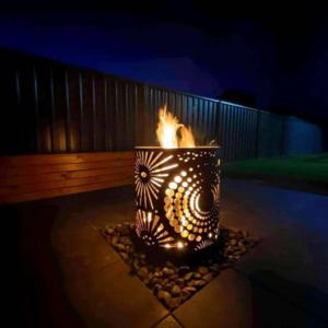Medium Round Fire Pit in Fireworks Pattern