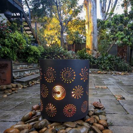 Medium Round Fire Pit with Spirals Pattern & Black Heat Proof Paint