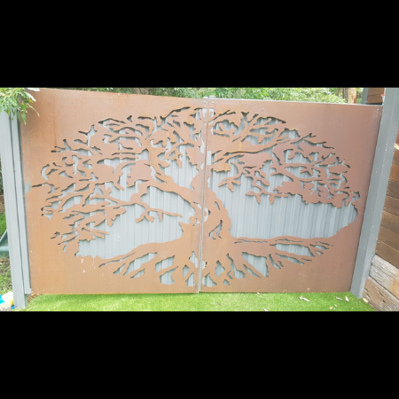 Property Gate with Corten Steel Tree of Life Pattern