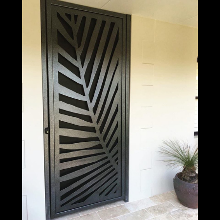 Security Screen Door with Palm Frond Pattern