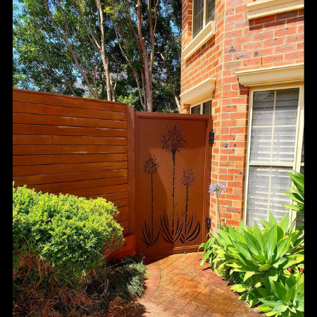 Self-Closing Security Gate with Gymea Lilies Pattern
