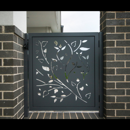 Side Gate with Vines Pattern in Powder Coated Aluminium