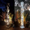 Square Light Tower in Powder Coated Aluminium with Crosshatch Pattern Day & Night