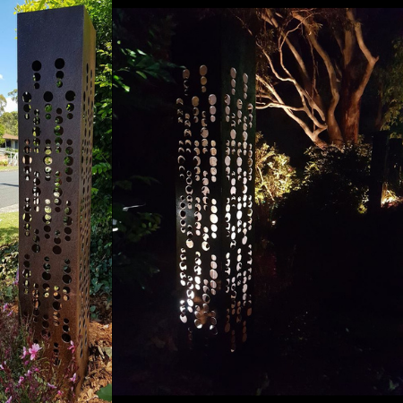 Square Light Tower in Steel with Champagne Pattern Day & Night