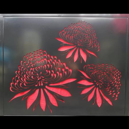 Waratah Trio Square in Black Powder Coated Aluminium with Red Perspex Backing