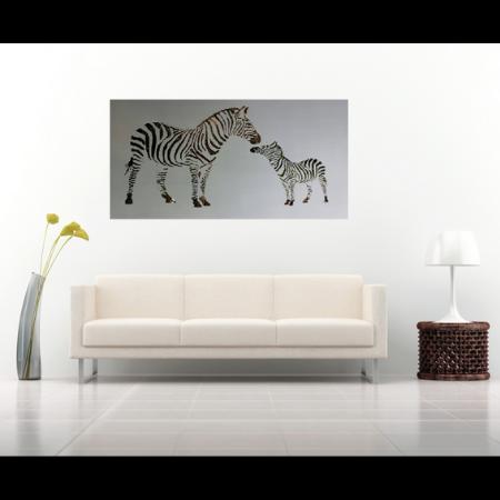 Zebra and Foal in Silver Powder Coated Aluminium