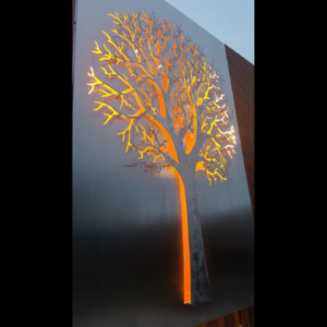3D Autumn Tree Decorative Screens in Stainless Steel with Lighting