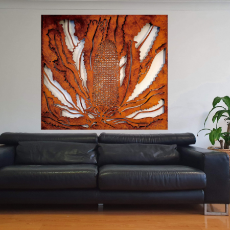 Banksia Wall Art in Rusted Steel