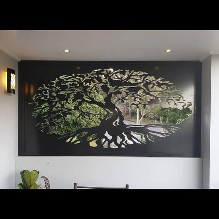 Fig Tree Decorative Screen in Satin Black Powder Coated Aluminium