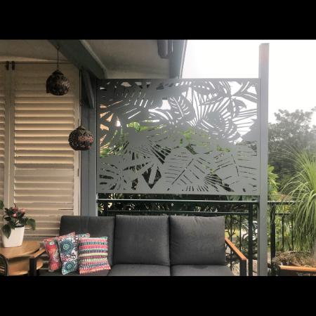 Tropical Pattern Privacy Screen in Powder Coated Aluminium