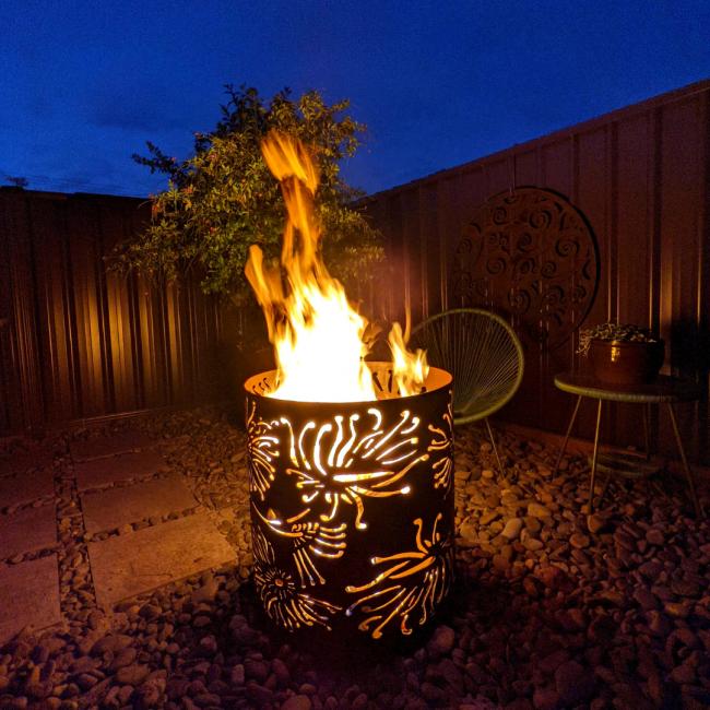 Medium Fire Pit with Firewheel Pattern