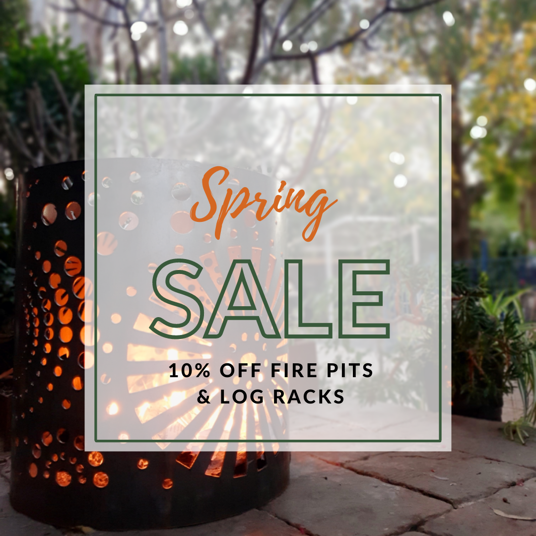 Spring Fire Pit & Log Rack Sale